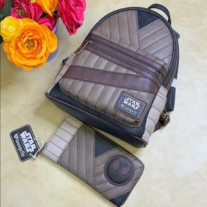 NWT Loungefly Star Wars Rey Backpack & Wallet Set
